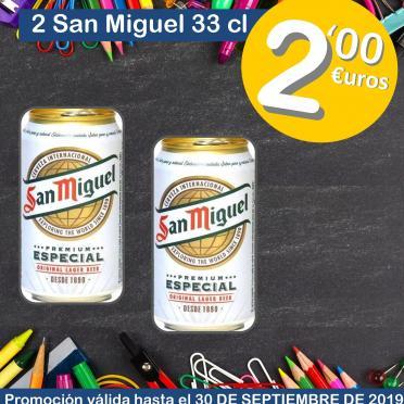 2 uds. cerveza San Miguell 33 cl. 2€